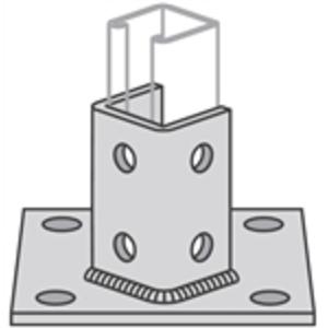 "Power-Strut PS3025-FL-EG Strut Post Base, Square, Double, 6"" X 6"" X 3-1/2"", Steel"