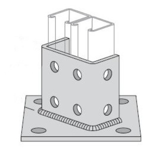 "Power-Strut PS3064-SQ-EG Post Base, Double Column, 6 x 6 x 3-1/2"", Steel/Electro-Galvanized"