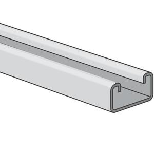 "Power-Strut PS500-10PG Channel - No Holes, Steel, Pre-Galvanized, 1-5/8"" x 13/16"" x 10'"