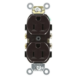 Leviton CR15 15 Amp Duplex Receptacle, 125V, 5-15R, Brown, Comm Grade, Side Wire