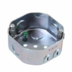"Reiker 55505 4"" Octagon Ceiling Box, 1-1/2"" Deep, KOs, Metallic"