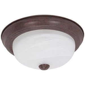 """Satco 60-205 2-Lights 11"""" Flush Mount Ceiling Light Fixture in Old Bronze Finish with Alabaster Glass"""