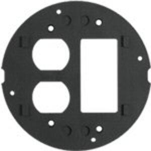 Hubbell-Kellems S1SPDUSL Subplate, Type: Duplex/Decora, Round, Black, Aluminum