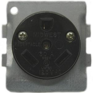 Midwest BR32U 30A, 2P, 125V, RV Receptacle, NEMA TT-30R