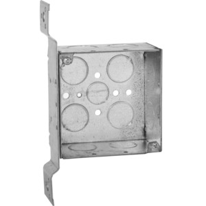 "Hubbell-Raco 236 4"" Square Box, Welded, Metallic, 2-1/8"" Deep, FM Bracket"