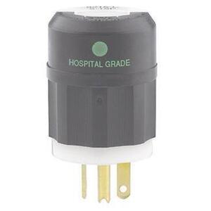 Leviton 8315-C 20 Amp Hospital Grade Plug, 125V, 5-20P, Black/White