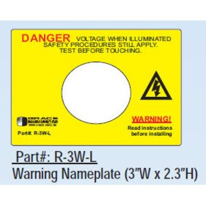Grace Technologies R-3W-L Voltage Indicator, Warning Label, Adhesive Backed, for R-3W