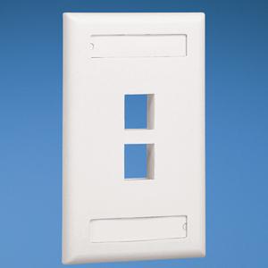 Panduit NK2FEIY Wallplate, Vertical, 1-Gang, 2-Port, Box Mount, NetKey, Ivory