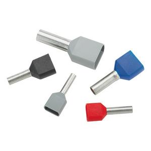 "Panduit FTD78-8-D Ferrule, Twin Insulated, 16 AWG, Pin Length: 0.31"", Black, Copper"