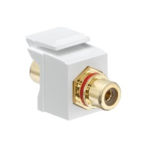 Leviton 40830-BWR Snap-In Connector, RCA, Gold Contacts, White/Red Stripe