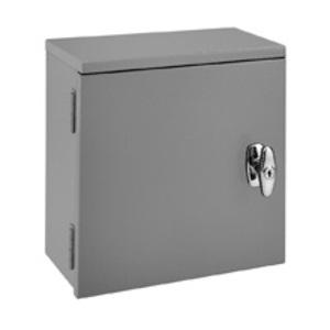 "Eaton B-Line 18186-RTC Utility Cabinet, NEMA 3R, Hinge Cover, 18 x 18 x 6"", Steel/Gray"
