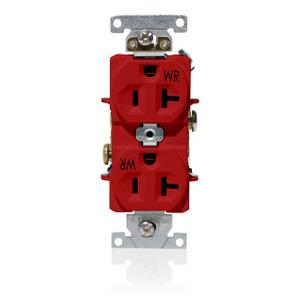 Leviton WBR20-R WBR20-I, T/W Duplex Receptacle, 20A, 125V, Red