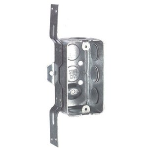 "Steel City 58361-V-1/2 Handy Box, 1-Gang, 1-7/8"" Deep, 1/2"" KOs, Drawn, V Bracket, Steel"