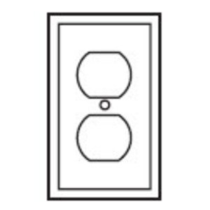 Eaton Wiring Devices PJ8W Duplex Receptacle Wallplate, 1-Gang, Nylon, White, Midway