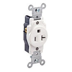Leviton 5891-W Single Receptacle, 20A, 125V, 5-20R, White, Back/Side Wired
