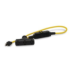 Leviton GFA15-3TC In-Line GFCI, Molded-On Plug & Tri-Connector, 15A, Auto, 3'