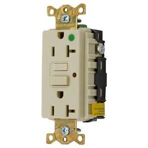 Hubbell-Kellems GFR8300HILA Hospital Grade GFCI Duplex Receptacle, 20A, 125V, Ivory, LED