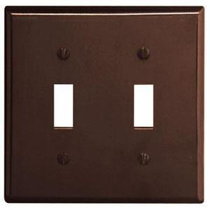 Leviton 85009 Toggle Switch Wallplate, 2-Gang, Thermoset, Brown
