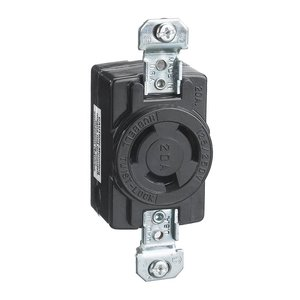 Hubbell-Kellems HBL7310B Locking Receptacle, Non-NEMA, 20A,  125/250V, 3P3W, Black