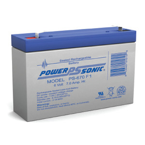 Power-Sonic PS-670 Sealed Rechargeable Battery, 6 Volt 7 AH