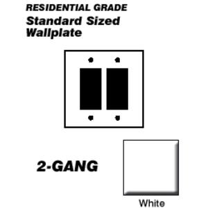 Leviton 80409-W Decora Wallplate, 2-Gang, Thermoset, White