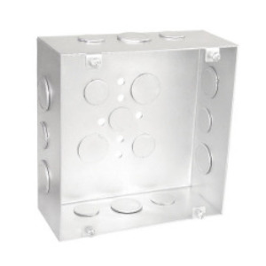 """Garvin Industries 6250-S 6"""" Square Box, Welded, Depth: 2-1/2"""", Knockouts: 3/4 & 1/2"""", Metallic"""