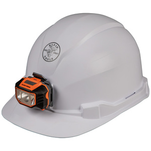 Klein 60107 Hard Hat, Non-vented, Cap Style with Headlamp