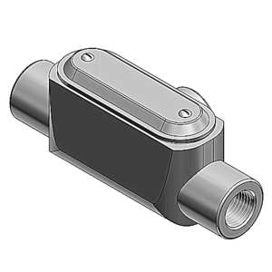 "Ocal T47-G PVC Coated Conduit Body, Type T, 1-1/4"", Form 7, Iron/PVC Coated"