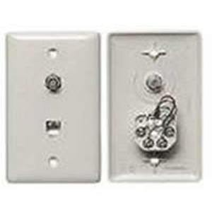 Hubbell-Premise NS747W Wall Plate & Connector, F Coaxial and Telephone Jack, 1-Gang, White