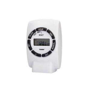 NSI Tork 454E 7 Day Digital Plug-In Timer Single Grounded Outlet Timer 125V Indoor