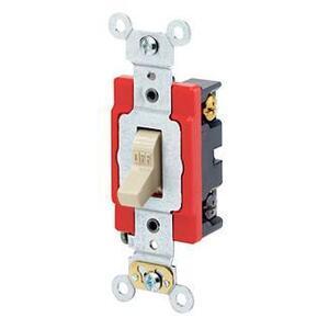 Leviton 1224-2I 4-Way Toggle Switch, 20A, 120/277V, Ivory, Industrial Grade