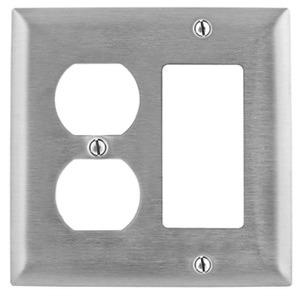Hubbell-Kellems SS826 Combo Wallplate, 2-Gang, Duplex/Decora-GFCI, Stainless Steel