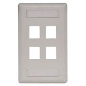 Hubbell-Premise IFP14OW Wallplate, 4-Port, 1-Gang, Keystone, Rear Load, Flush, Office White