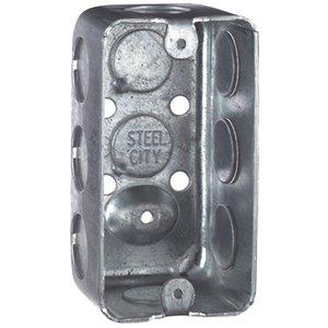 "Steel City 58361-1/2 Handy Box, 1-7/8"" Deep, 1/2"" KOs, Drawn, Steel"