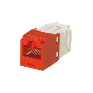 Panduit CJ688TGRD Snap-In Connector, Mini-Com, TX6 PLUS UTP, Cat 6, Red