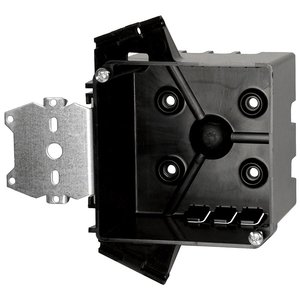 "Allied Moulded PJ-32H 4"" Square Outlet Box, Depth: 2-1/2"", Bracket, Non-Metallic"