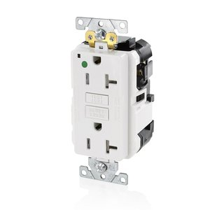 Leviton MGFT2-HGW Self-Test Hospital Grade GFCI Receptacle, 20A, 125V, White