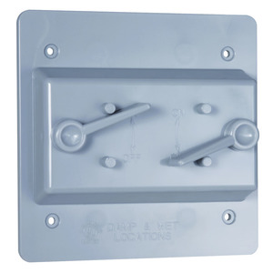 Hubbell-TayMac PTC200GY Lever Switch, 2-Gang, Weatherproof Cover