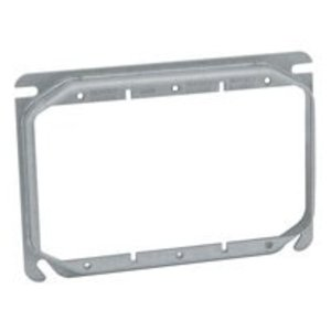 """Hubbell-Raco 792 4"""" Square Cover, 3-Device, Mud Ring, 5/8"""" Raised, Drawn, Metallic"""