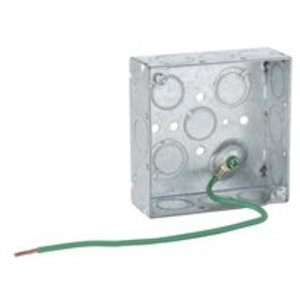 """Hubbell-Raco 189SM 4"""" Square Box, Welded, Metallic, 1-1/2"""" Deep, 1/2"""" Knockouts"""