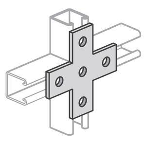 Power-Strut PS712-EG Cross Plate, 5-Hole, Steel/Electro-Galvanized