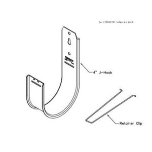 "International Connectors & Cable ICCMSJHK55 J-Hook, Diameter: 4"", For Use With CAT Cables, Steel"