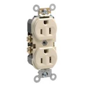 Leviton BR15-I 15 Amp Duplex Receptacle, 125V, 5-15R, Ivory, Comm Grade, Back/Side