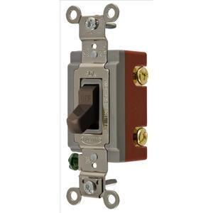 Hubbell-Kellems HBL1221 Single Pole Switch, 15A, 120/277V, Brown, Extra Heavy Duty
