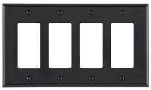 Leviton PJ264-E Decora Wallplate, 4-Gang, Nylon, Black, Midway