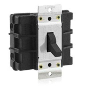 Leviton MS602-BW Manual Motor Switch, 60A, 600VAC, Short Toggle Style, 2P, Black