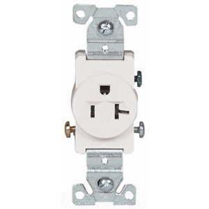 Eaton Arrow Hart 1877W-BOX Single Receptacle, 20A, 125V, 5-20R, White