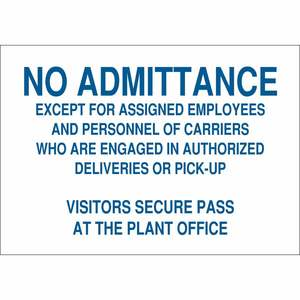 22224 ADMITTANCE SIGN