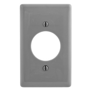 "Hubbell-Wiring Kellems NP720GY Locking Receptacle Wallplate, 1-Gang, 1.6"" Opening, Nylon, Gray"