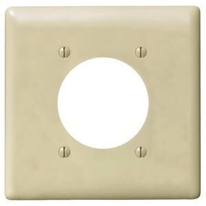 "Hubbell-Wiring Kellems NPJ703I Single Receptacle Wallplate, 2-Gang, 2.16"" Hole, Nylon, Ivory, Mid-Size"